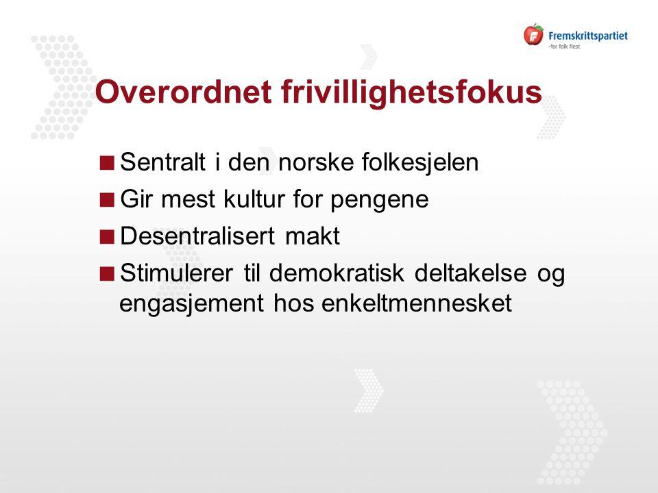 Overordnet frivillighetsfokus  Sentralt i den norske folkesjelen  Gir mest kultur for pengene  Desentralisert makt  Stimulerer til demokratisk deltakelse og engasjement hos enkeltmennesket