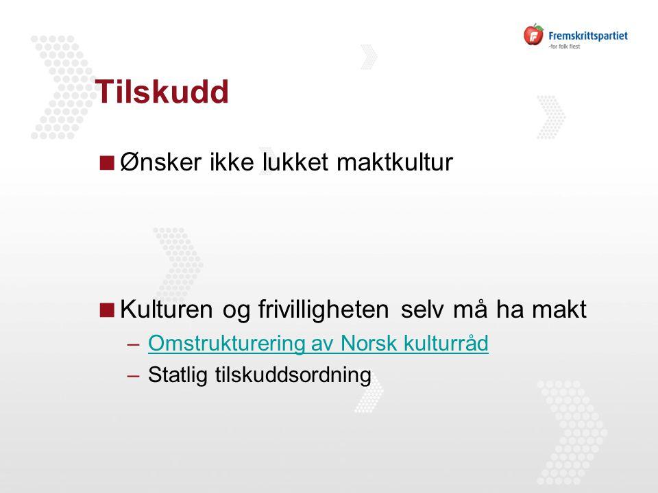 Tilskudd  Ønsker ikke lukket maktkultur  Kulturen og frivilligheten selv må ha makt –Omstrukturering av Norsk kulturrådOmstrukturering av Norsk kulturråd –Statlig tilskuddsordning