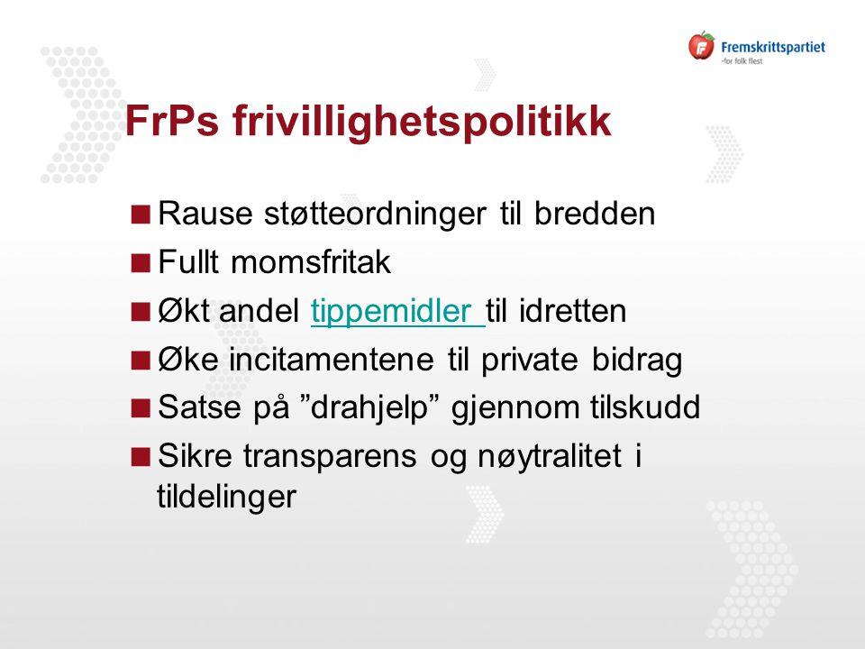 FrPs frivillighetspolitikk  Rause støtteordninger til bredden  Fullt momsfritak  Økt andel tippemidler til idrettentippemidler  Øke incitamentene