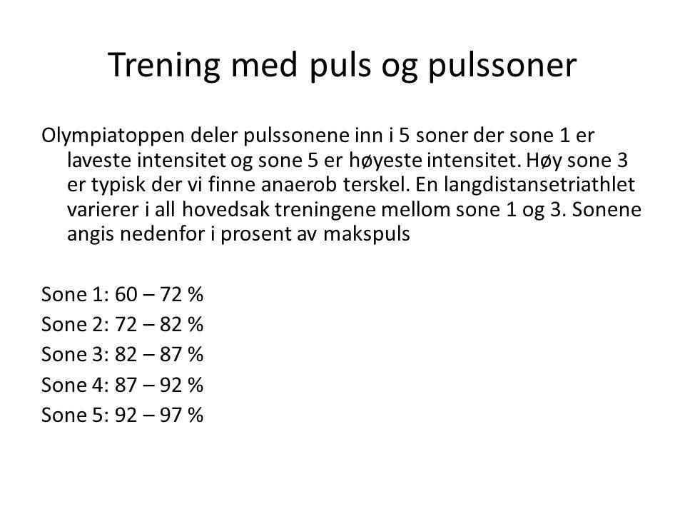 Trening med puls og pulssoner Olympiatoppen deler pulssonene inn i 5 soner der sone 1 er laveste intensitet og sone 5 er høyeste intensitet. Høy sone