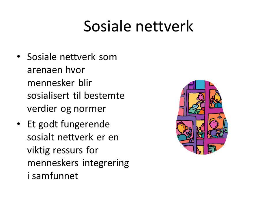 Sosiale nettverk Sosiale nettverk som arenaen hvor mennesker blir sosialisert til bestemte verdier og normer Et godt fungerende sosialt nettverk er en
