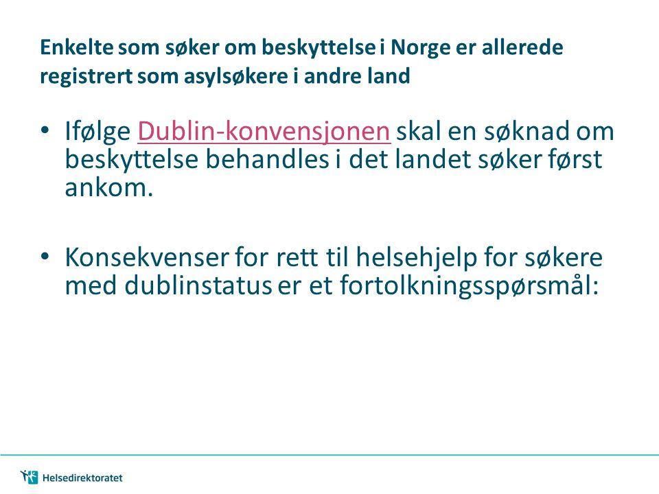 | 26 Enkelte som søker om beskyttelse i Norge er allerede registrert som asylsøkere i andre land Ifølge Dublin-konvensjonen skal en søknad om beskytte