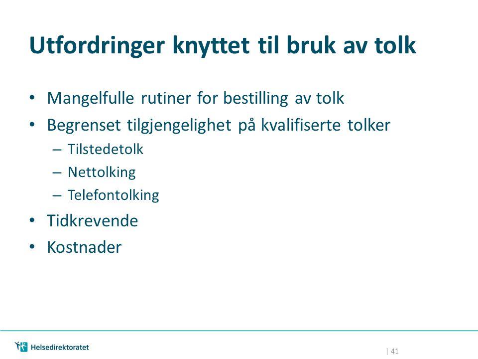 | 41 Utfordringer knyttet til bruk av tolk Mangelfulle rutiner for bestilling av tolk Begrenset tilgjengelighet på kvalifiserte tolker – Tilstedetolk