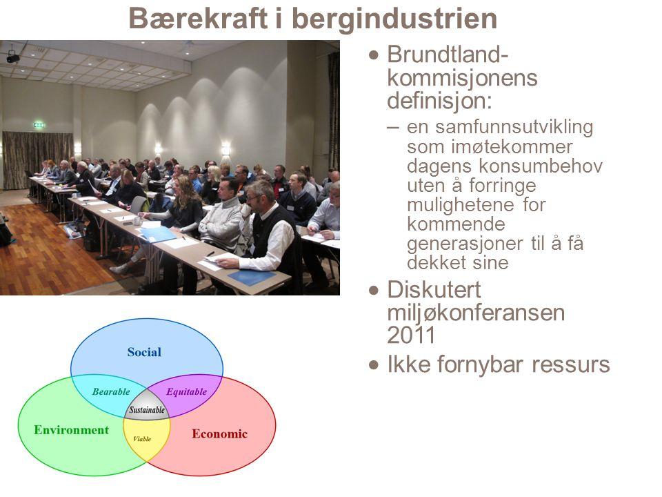 Bærekraft i bergindustrien  Brundtland- kommisjonens definisjon: – en samfunnsutvikling som imøtekommer dagens konsumbehov uten å forringe mulighetene for kommende generasjoner til å få dekket sine  Diskutert miljøkonferansen 2011  Ikke fornybar ressurs