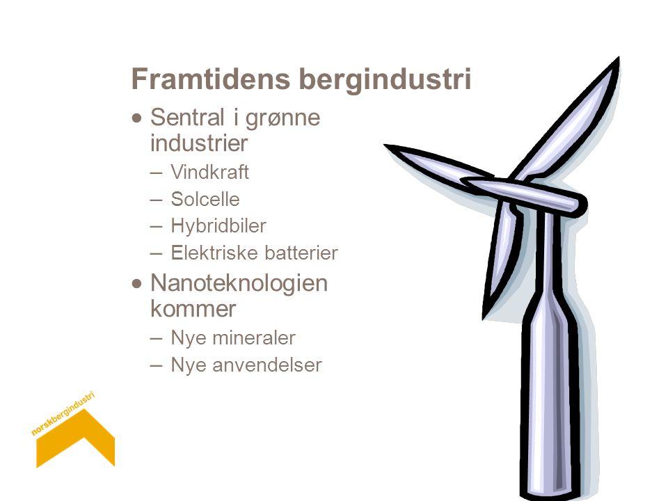 Framtidens bergindustri  Sentral i grønne industrier – Vindkraft – Solcelle – Hybridbiler – Elektriske batterier  Nanoteknologien kommer – Nye mineraler – Nye anvendelser