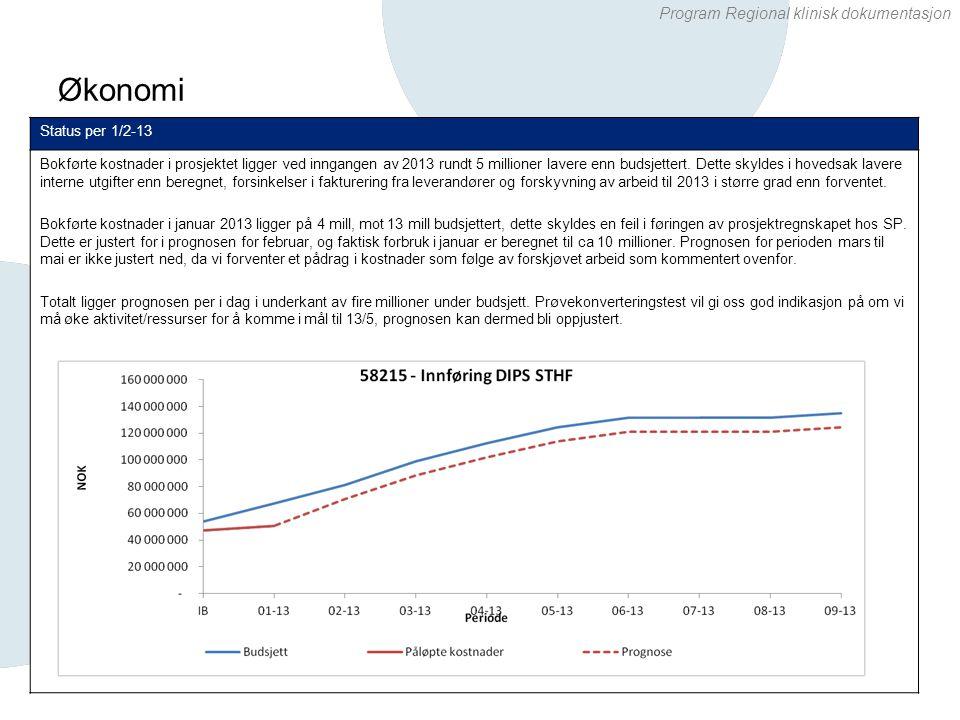 Program Regional klinisk dokumentasjon Økonomi 5 Status per 1/2-13 Bokførte kostnader i prosjektet ligger ved inngangen av 2013 rundt 5 millioner lave