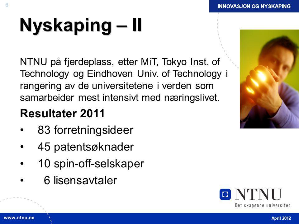 6 Nyskaping – II NTNU på fjerdeplass, etter MiT, Tokyo Inst.