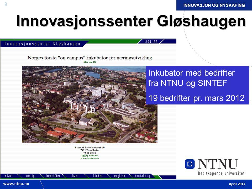 9 Innovasjonssenter Gløshaugen Inkubator med bedrifter fra NTNU og SINTEF 19 bedrifter pr.