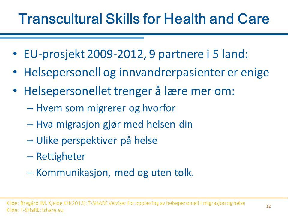 Transcultural Skills for Health and Care EU-prosjekt 2009-2012, 9 partnere i 5 land: Helsepersonell og innvandrerpasienter er enige Helsepersonellet t
