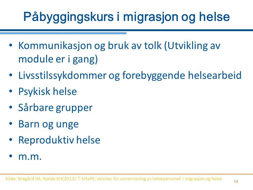 Påbyggingskurs i migrasjon og helse Kommunikasjon og bruk av tolk (Utvikling av module er i gang) Livsstilssykdommer og forebyggende helsearbeid Psyki
