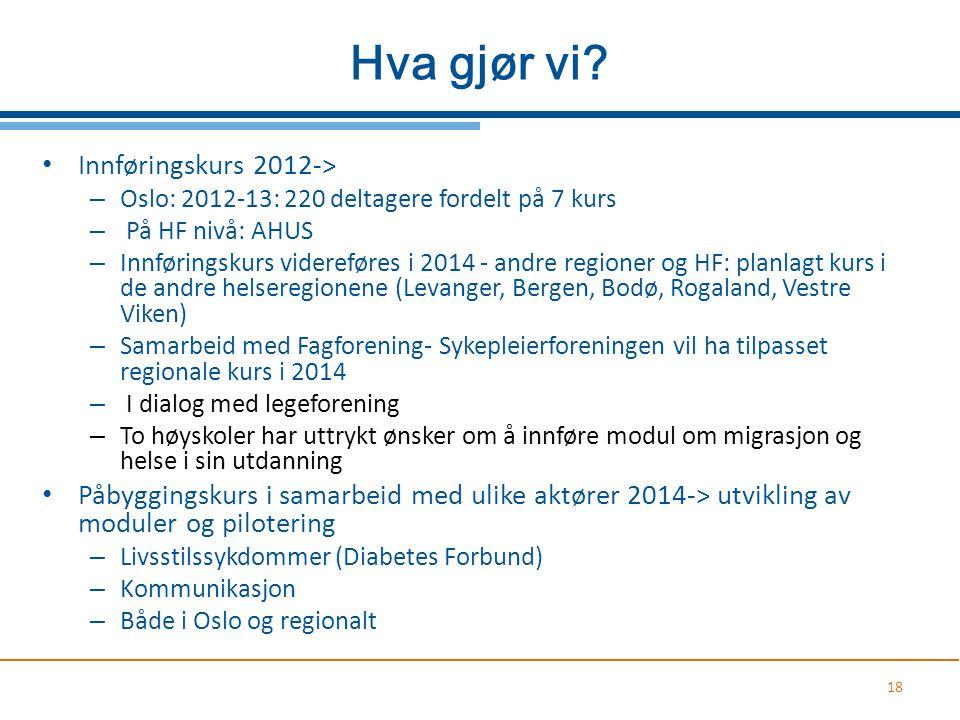 Hva gjør vi? Innføringskurs 2012-> – Oslo: 2012-13: 220 deltagere fordelt på 7 kurs – På HF nivå: AHUS – Innføringskurs videreføres i 2014 - andre reg