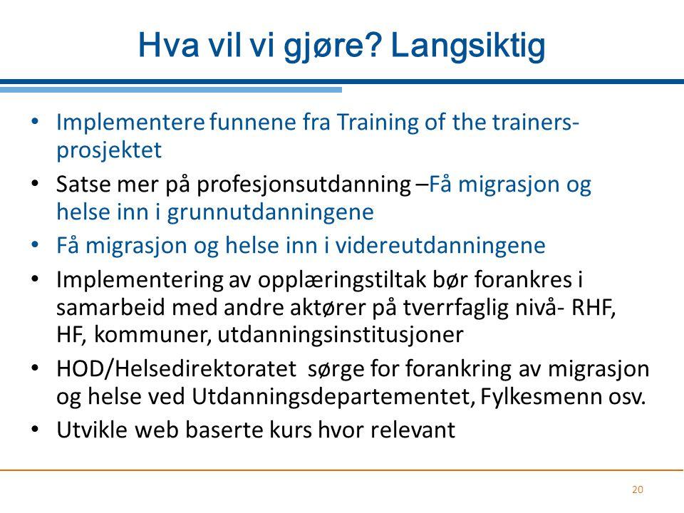 Hva vil vi gjøre? Langsiktig Implementere funnene fra Training of the trainers- prosjektet Satse mer på profesjonsutdanning –Få migrasjon og helse inn