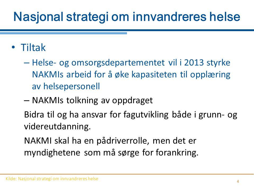 Nasjonal strategi om innvandreres helse Tiltak – Helse- og omsorgsdepartementet vil i 2013 styrke NAKMIs arbeid for å øke kapasiteten til opplæring av