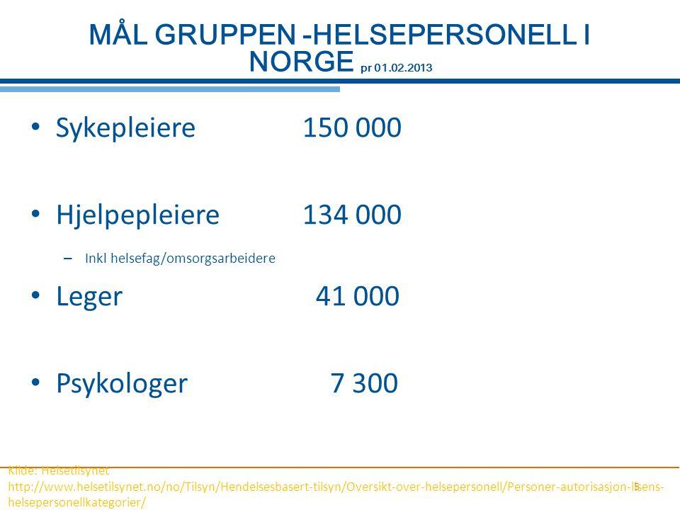 5 MÅL GRUPPEN -HELSEPERSONELL I NORGE pr 01.02.2013 Sykepleiere150 000 Hjelpepleiere134 000 – Inkl helsefag/omsorgsarbeidere Leger 41 000 Psykologer 7