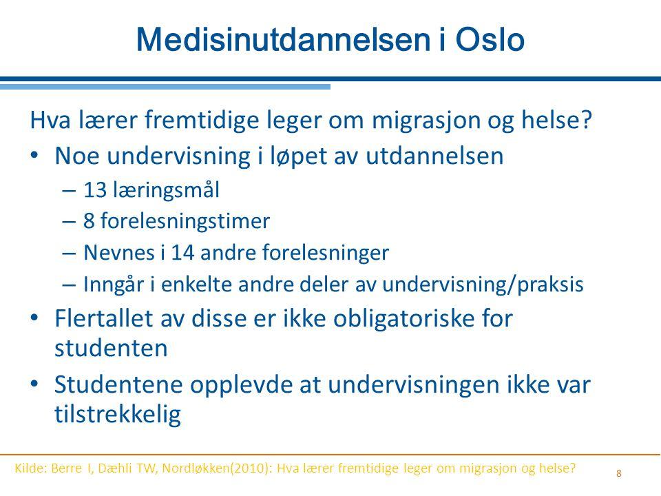 8 Medisinutdannelsen i Oslo Hva lærer fremtidige leger om migrasjon og helse? Noe undervisning i løpet av utdannelsen – 13 læringsmål – 8 forelesnings