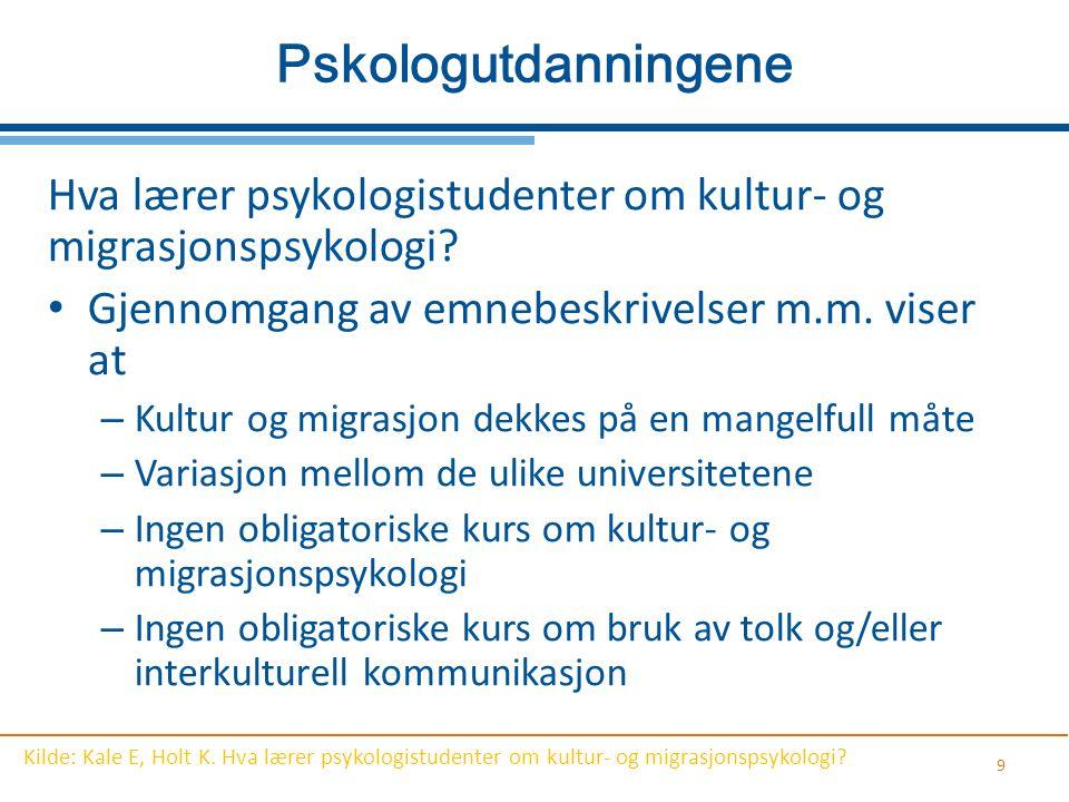 9 Pskologutdanningene Hva lærer psykologistudenter om kultur- og migrasjonspsykologi? Gjennomgang av emnebeskrivelser m.m. viser at – Kultur og migras