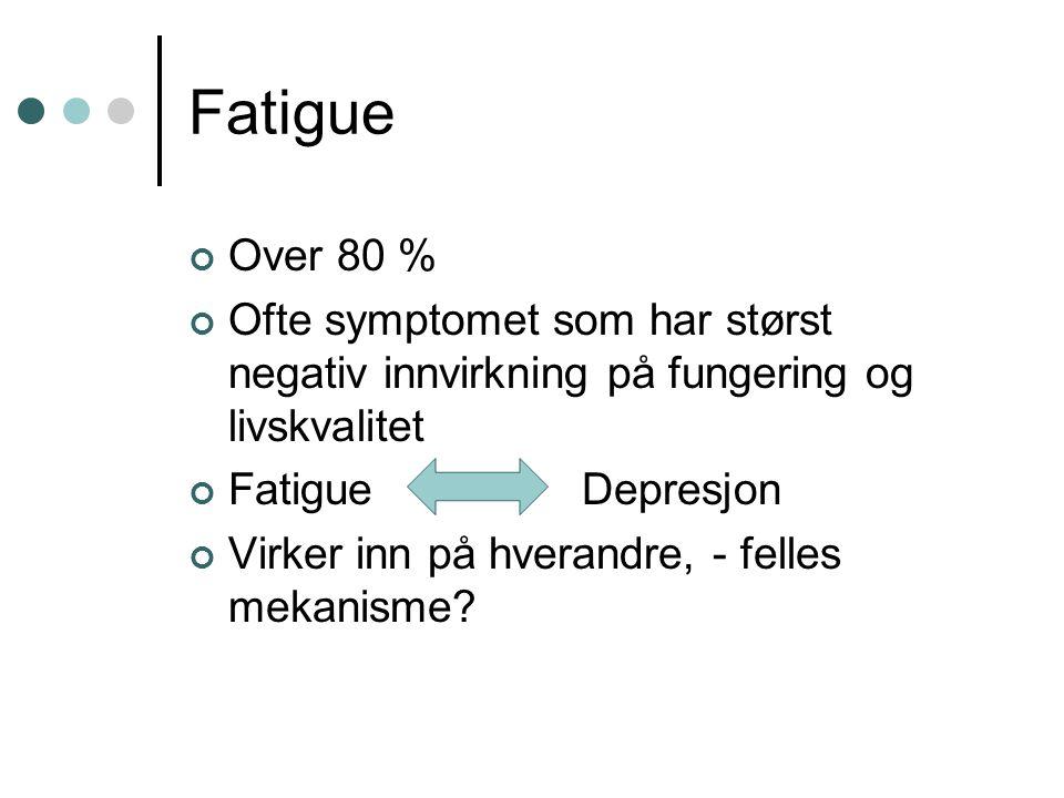 Fatigue Over 80 % Ofte symptomet som har størst negativ innvirkning på fungering og livskvalitet Fatigue Depresjon Virker inn på hverandre, - felles m