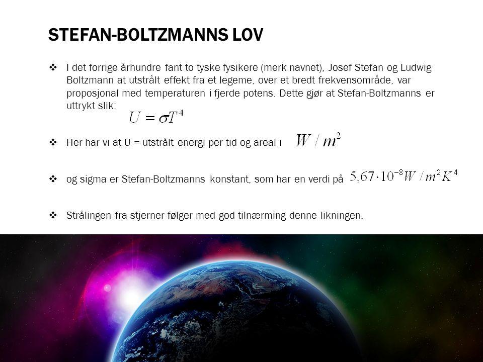 STEFAN-BOLTZMANNS LOV  I det forrige århundre fant to tyske fysikere (merk navnet), Josef Stefan og Ludwig Boltzmann at utstrålt effekt fra et legeme