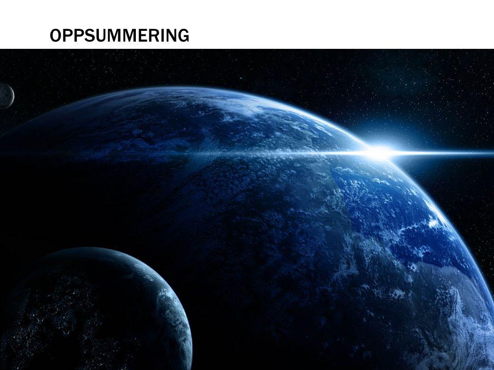 OPPSUMMERING  Vi har nå sett på det grunnleggende i astrofysikken, vi vet at alle gjenstander sender ut elektromagnetisk stråling.  Videre vet vi at