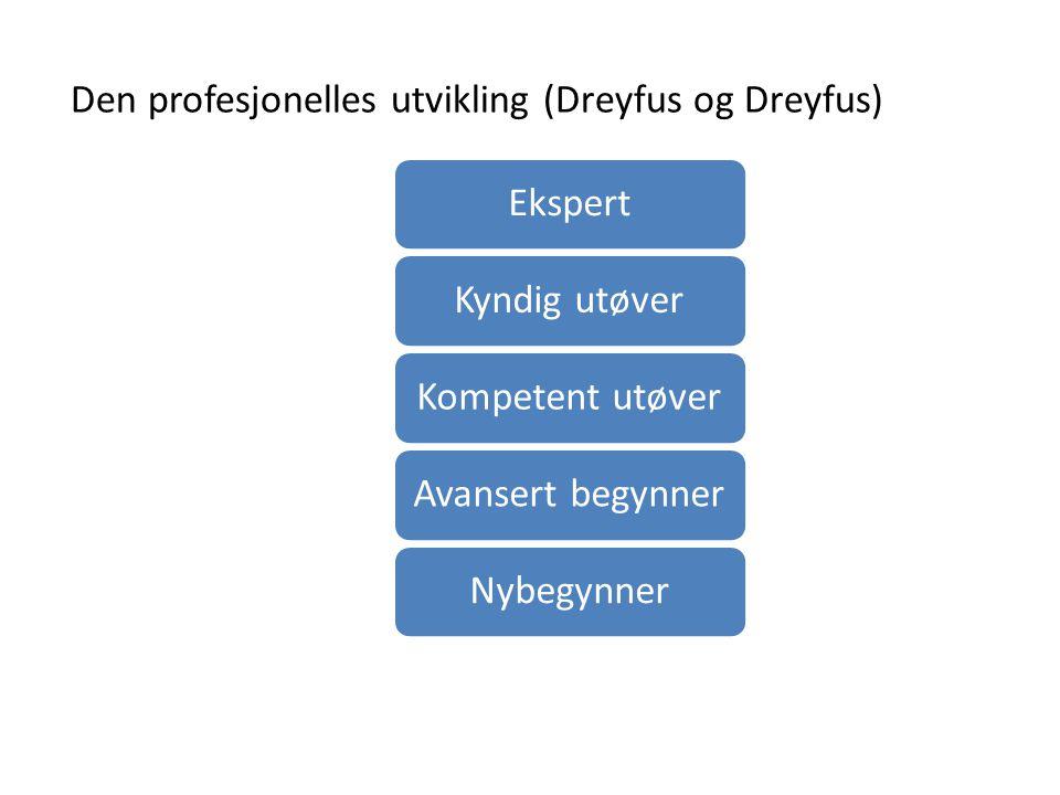 Den profesjonelles utvikling (Dreyfus og Dreyfus) EkspertKyndig utøverKompetent utøverAvansert begynnerNybegynner
