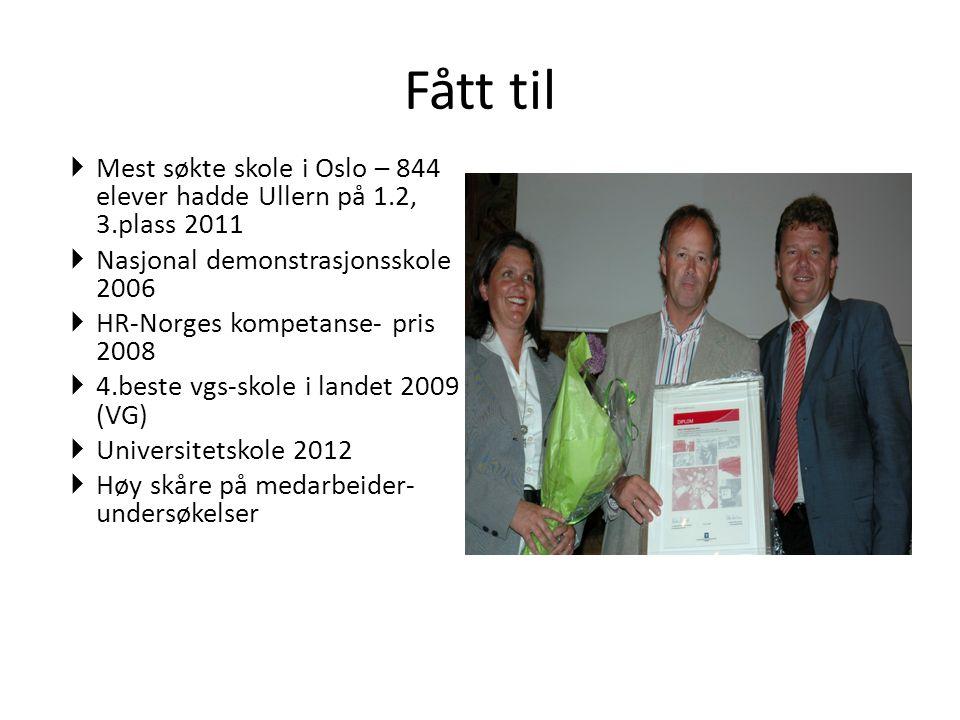 Fått til  Mest søkte skole i Oslo – 844 elever hadde Ullern på 1.2, 3.plass 2011  Nasjonal demonstrasjonsskole 2006  HR-Norges kompetanse- pris 200