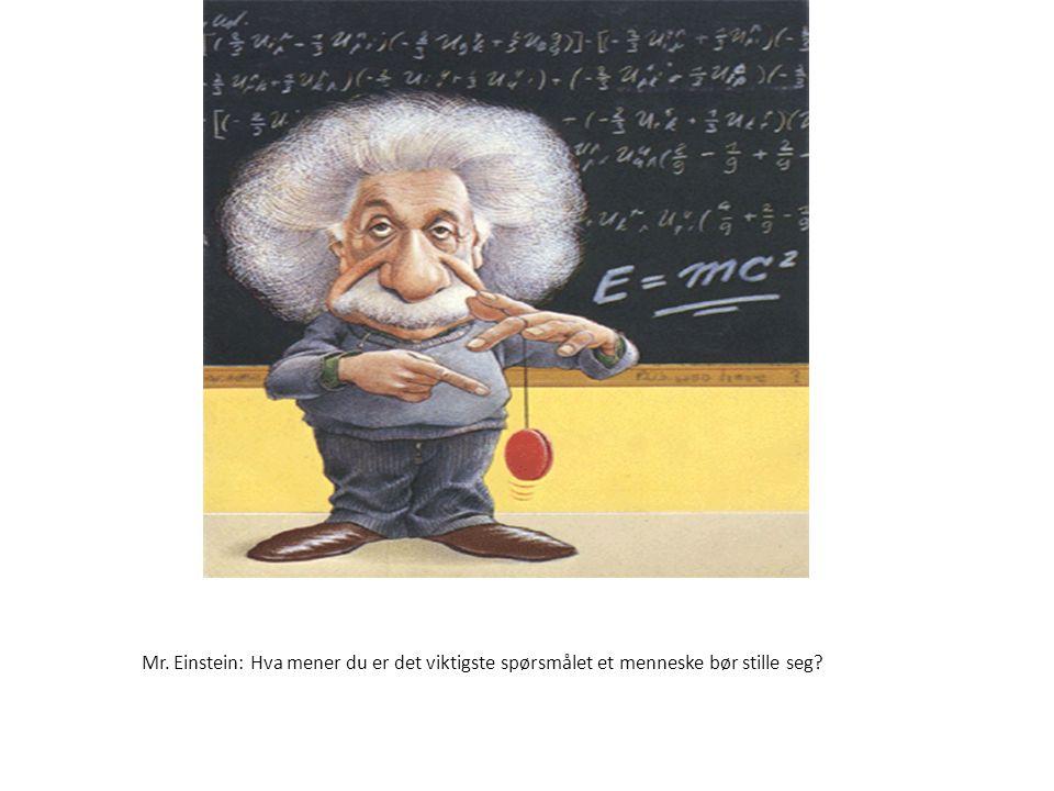 Størrelse:300 × 420 Type:83KB GIF Mr. Einstein: Hva mener du er det viktigste spørsmålet et menneske bør stille seg?