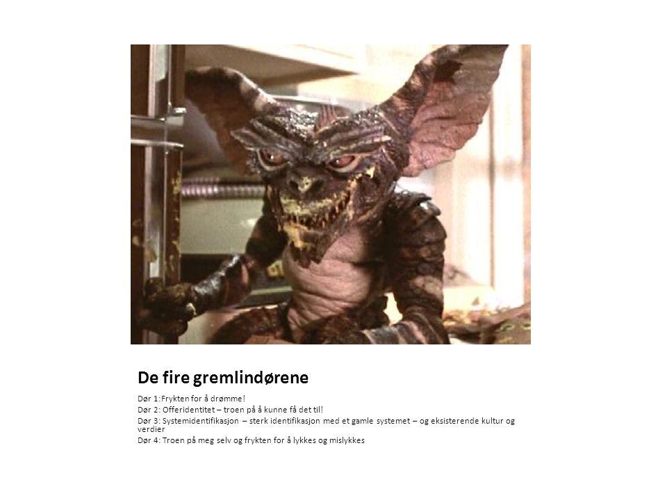 De fire gremlindørene Dør 1:Frykten for å drømme! Dør 2: Offeridentitet – troen på å kunne få det til! Dør 3: Systemidentifikasjon – sterk identifikas