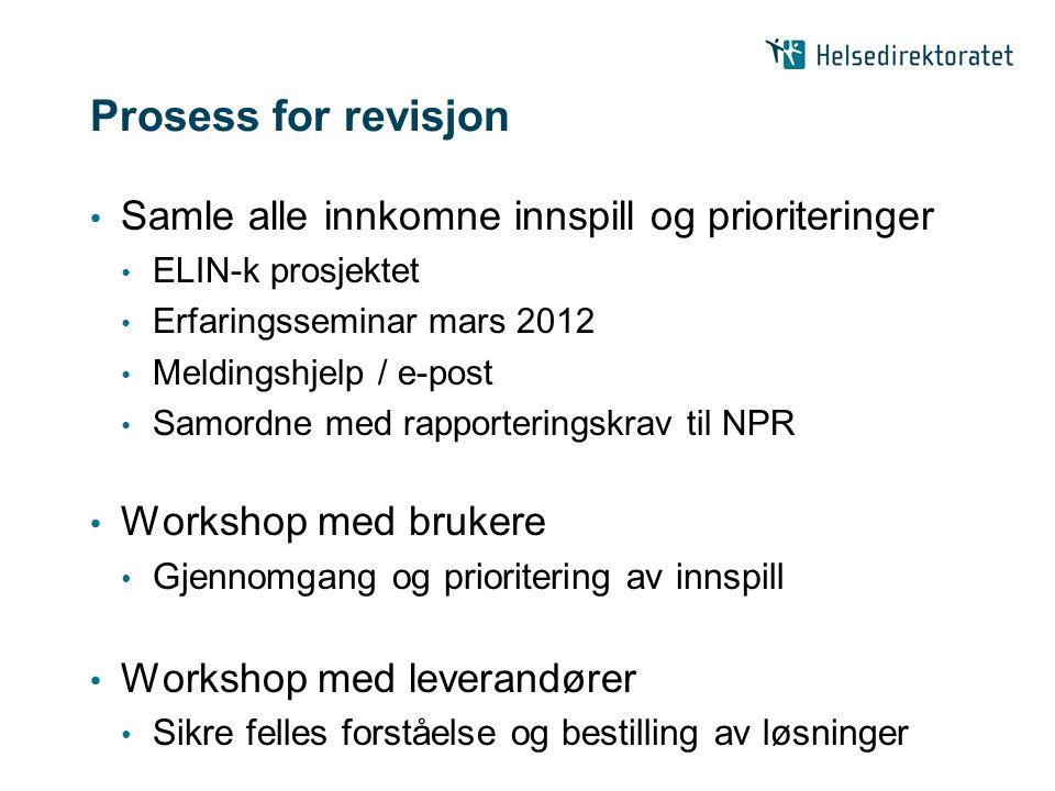 Prosess for revisjon Samle alle innkomne innspill og prioriteringer ELIN-k prosjektet Erfaringsseminar mars 2012 Meldingshjelp / e-post Samordne med r