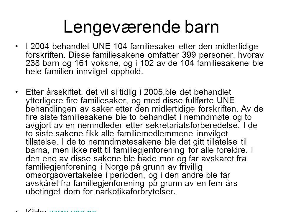 Lengeværende barn Om lag 134 familiesaker hvor forskriften var påberopt ble ikke ansett omfattet av den midlertidige forskriften.