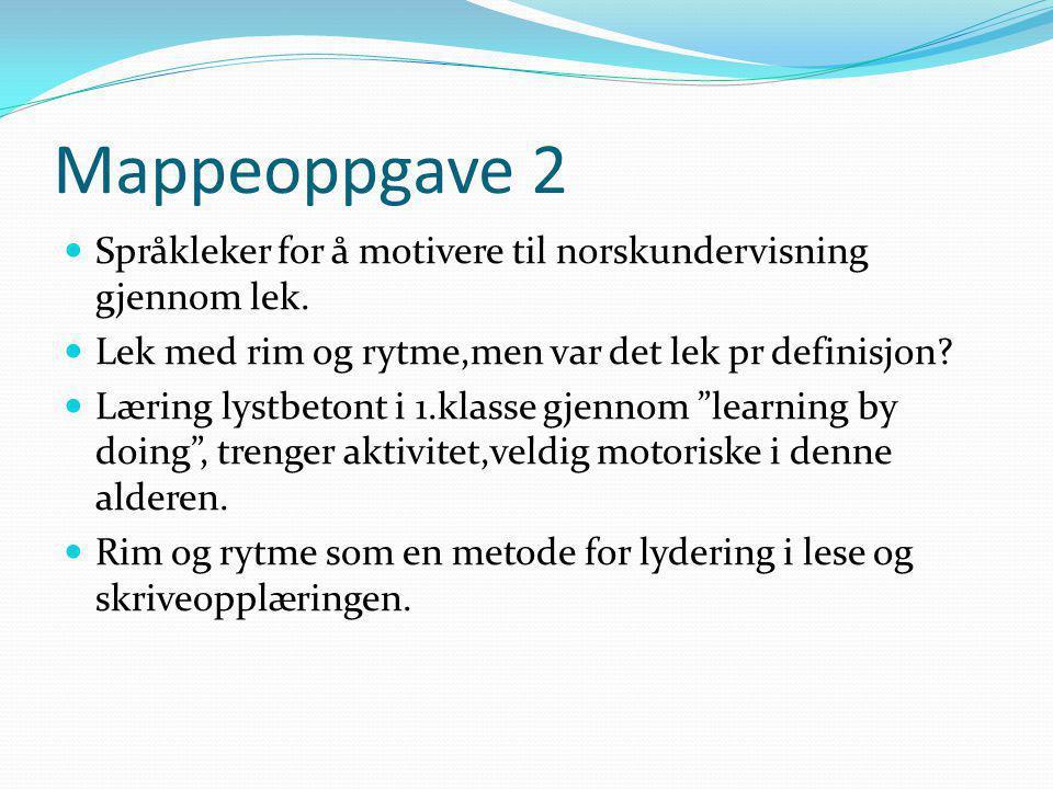 Mappeoppgave 2 Språkleker for å motivere til norskundervisning gjennom lek.