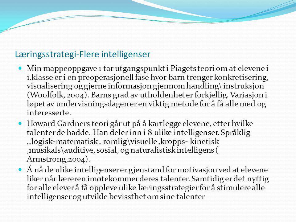 Læringsstrategi-Flere intelligenser Min mappeoppgave 1 tar utgangspunkt i Piagets teori om at elevene i 1.klasse er i en preoperasjonell fase hvor barn trenger konkretisering, visualisering og gjerne informasjon gjennom handling\ instruksjon (Woolfolk, 2004).