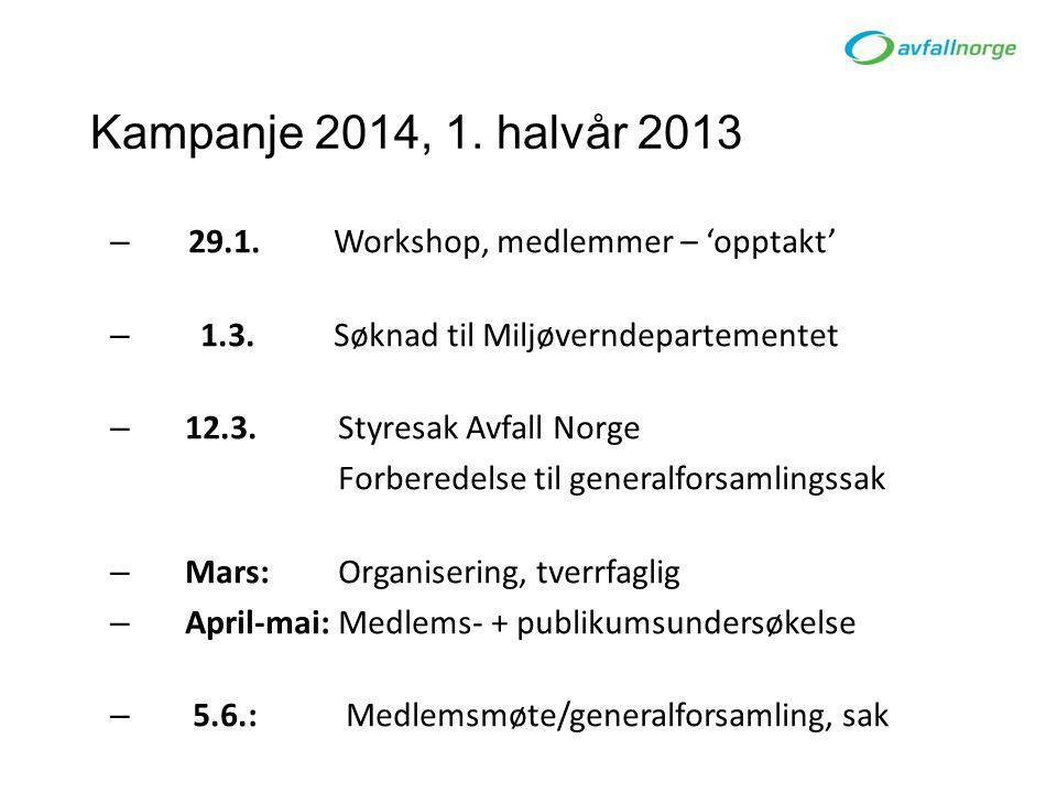 Kampanje 2014, 1. halvår 2013 – 29.1. Workshop, medlemmer – 'opptakt' – 1.3.