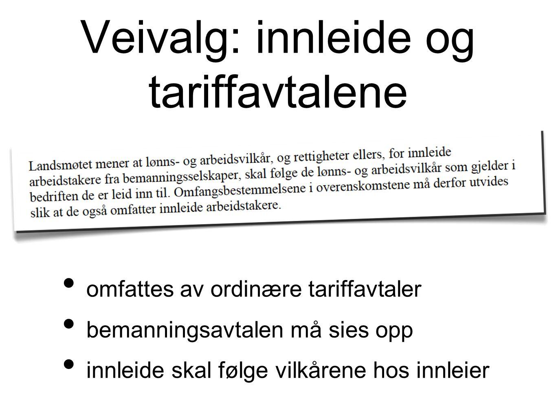 Veivalg: innleide og tariffavtalene omfattes av ordinære tariffavtaler bemanningsavtalen må sies opp innleide skal følge vilkårene hos innleier
