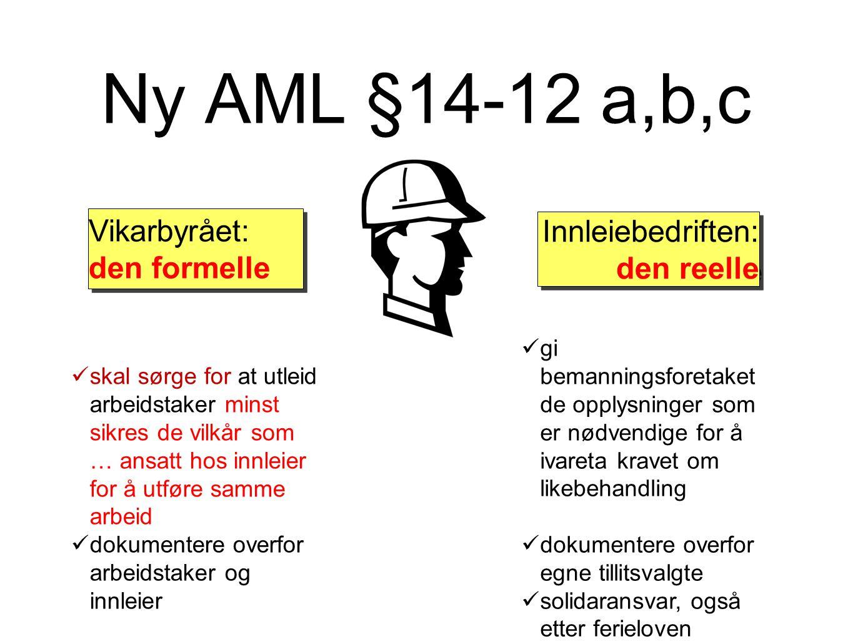Ny AML §14-12 a,b,c skal sørge for at utleid arbeidstaker minst sikres de vilkår som … ansatt hos innleier for å utføre samme arbeid dokumentere overf