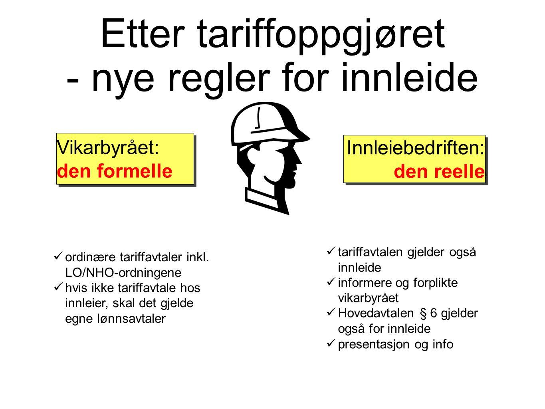 Etter tariffoppgjøret - nye regler for innleide ordinære tariffavtaler inkl. LO/NHO-ordningene hvis ikke tariffavtale hos innleier, skal det gjelde eg
