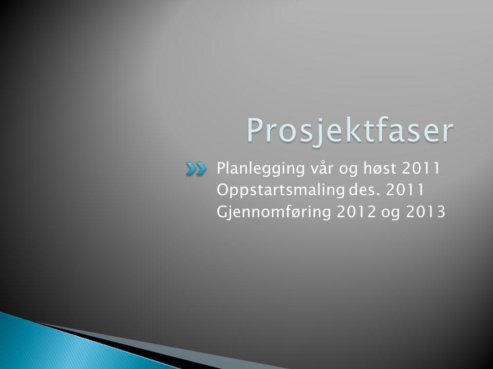 Planlegging vår og høst 2011 Oppstartsmaling des. 2011 Gjennomføring 2012 og 2013