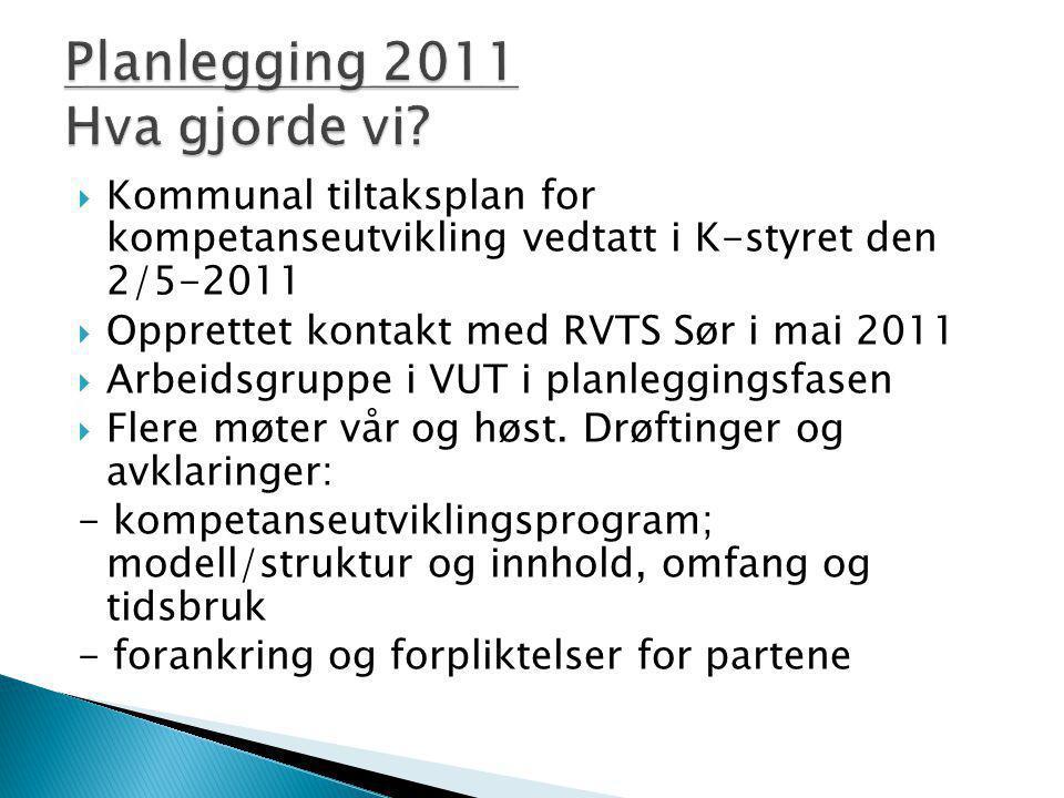  Kommunal tiltaksplan for kompetanseutvikling vedtatt i K-styret den 2/5-2011  Opprettet kontakt med RVTS Sør i mai 2011  Arbeidsgruppe i VUT i pla