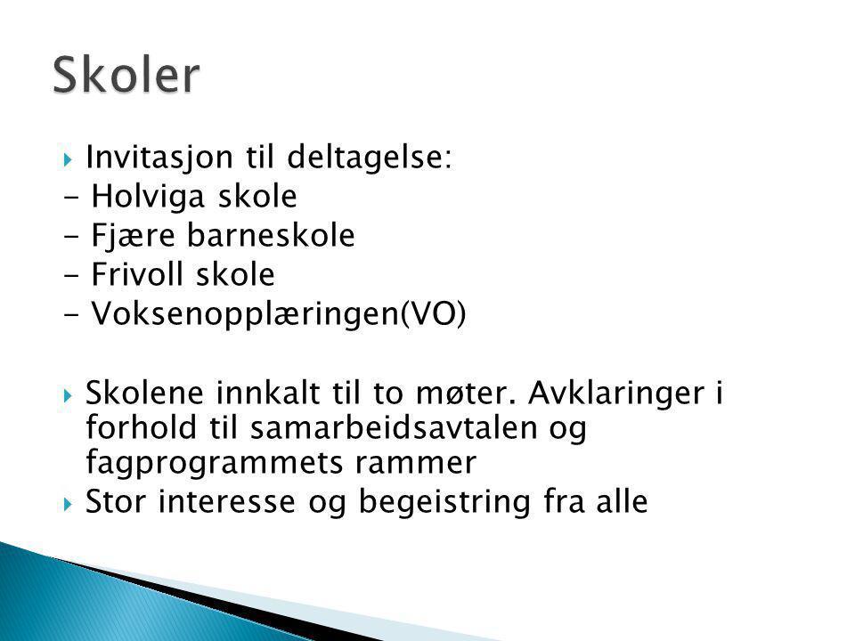  Invitasjon til deltagelse: - Holviga skole - Fjære barneskole - Frivoll skole - Voksenopplæringen(VO)  Skolene innkalt til to møter. Avklaringer i