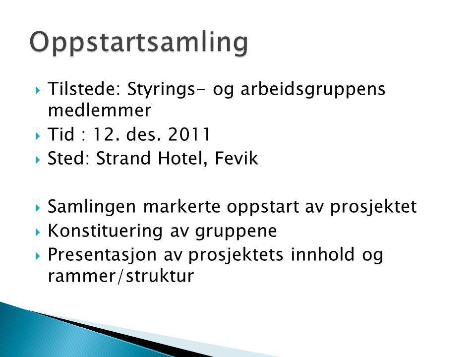  Tilstede: Styrings- og arbeidsgruppens medlemmer  Tid : 12. des. 2011  Sted: Strand Hotel, Fevik  Samlingen markerte oppstart av prosjektet  Kon
