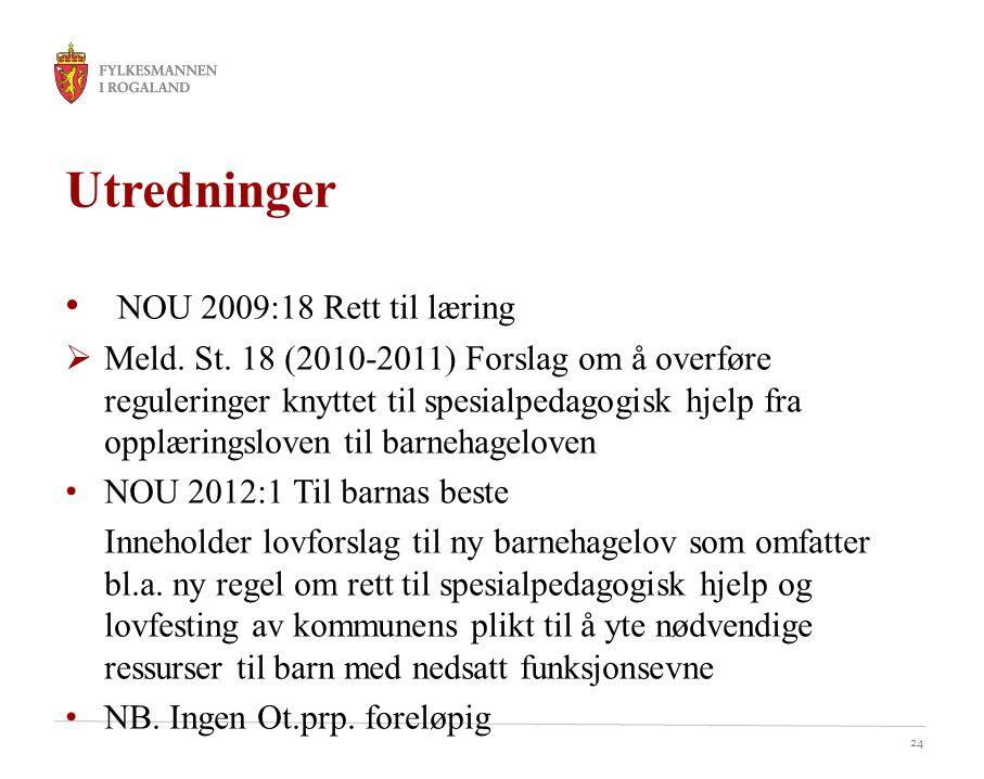 24 Utredninger NOU 2009:18 Rett til læring  Meld. St. 18 (2010-2011) Forslag om å overføre reguleringer knyttet til spesialpedagogisk hjelp fra opplæ