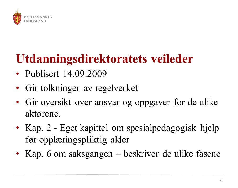 3 Utdanningsdirektoratets veileder Publisert 14.09.2009 Gir tolkninger av regelverket Gir oversikt over ansvar og oppgaver for de ulike aktørene. Kap.