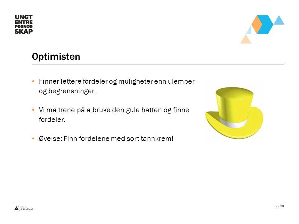 ue.no Optimisten Finner lettere fordeler og muligheter enn ulemper og begrensninger. Vi må trene på å bruke den gule hatten og finne fordeler. Øvelse: