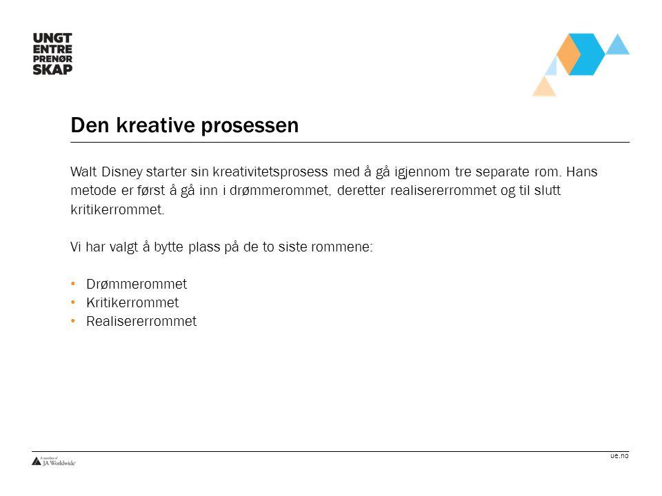 ue.no Den kreative prosessen Walt Disney starter sin kreativitetsprosess med å gå igjennom tre separate rom. Hans metode er først å gå inn i drømmerom