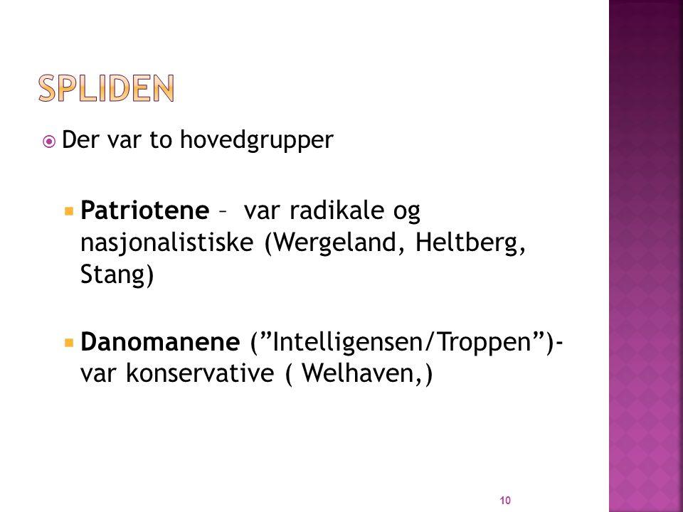  Der var to hovedgrupper  Patriotene – var radikale og nasjonalistiske (Wergeland, Heltberg, Stang)  Danomanene ( Intelligensen/Troppen )- var konservative ( Welhaven,) 10
