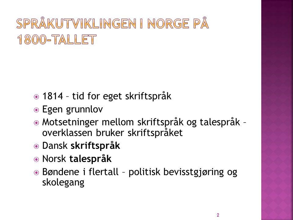  Dialekter  Samlet på bygda  Nynorskens far  Dannet språk  Samlet i byene  Bokmålets far 33