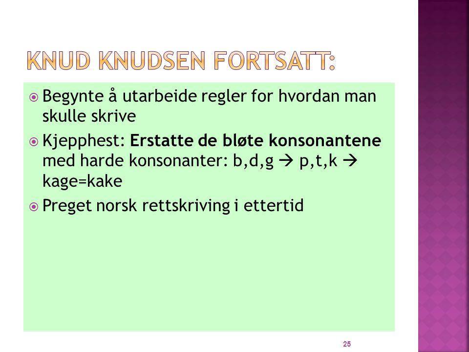  Begynte å utarbeide regler for hvordan man skulle skrive  Kjepphest: Erstatte de bløte konsonantene med harde konsonanter: b,d,g  p,t,k  kage=kake  Preget norsk rettskriving i ettertid 25