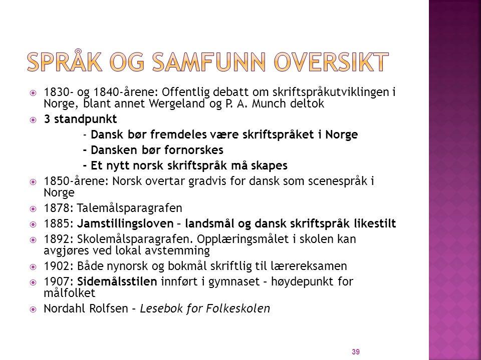  1830- og 1840-årene: Offentlig debatt om skriftspråkutviklingen i Norge, blant annet Wergeland og P.