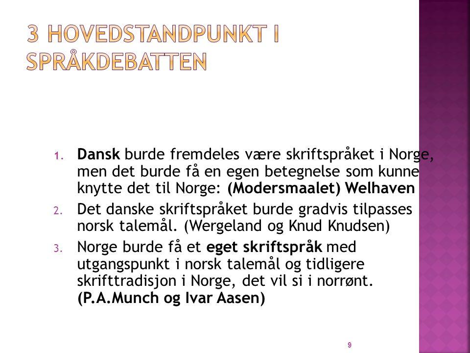 1. Dansk burde fremdeles være skriftspråket i Norge, men det burde få en egen betegnelse som kunne knytte det til Norge: (Modersmaalet) Welhaven 2. De