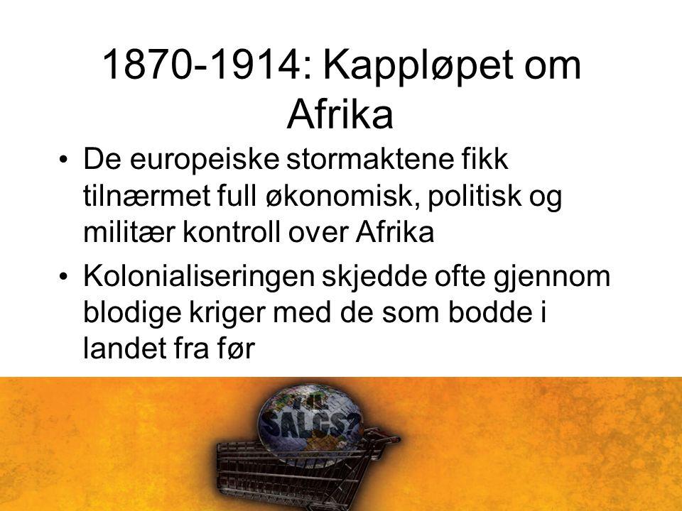 1870-1914: Kappløpet om Afrika De europeiske stormaktene fikk tilnærmet full økonomisk, politisk og militær kontroll over Afrika Kolonialiseringen skjedde ofte gjennom blodige kriger med de som bodde i landet fra før