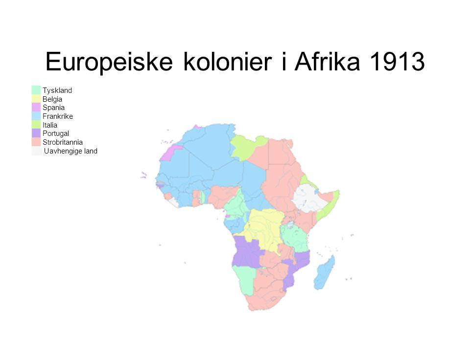 ██ Tyskland ██ Belgia ██ Spania ██ Frankrike ██ Italia ██ Portugal ██ Strobritannia ██ Uavhengige land Europeiske kolonier i Afrika 1913